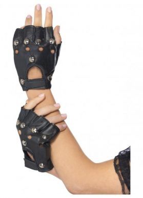 Black Punk Gloves with Studs