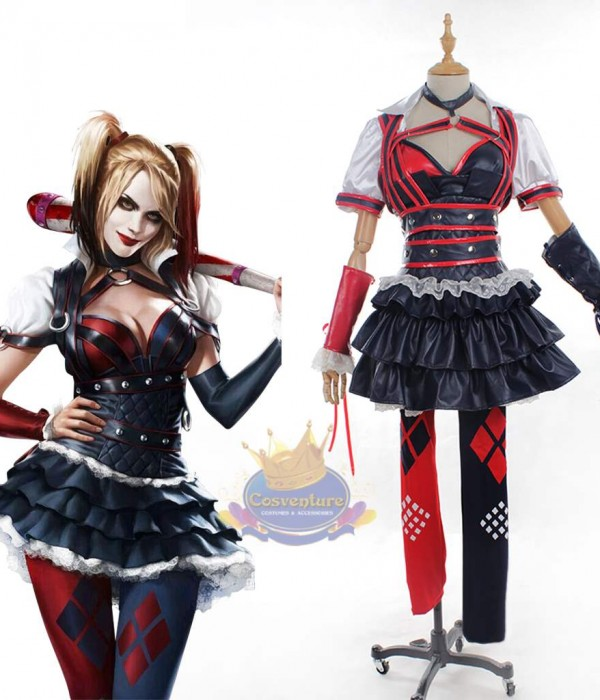 Batman Arkham Knight Harley Quinn Cosplay Costume Dress Set 2015 Game Version