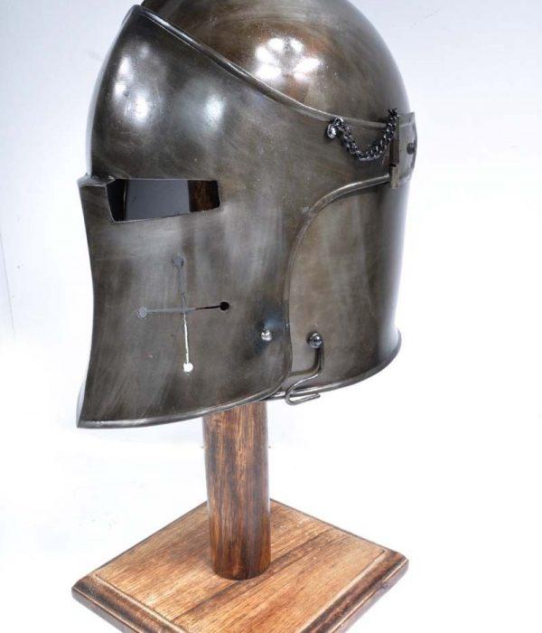 Dark Barbuta Visored Helmet With Stand