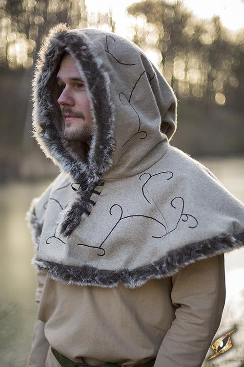 Fur Hood Beige Medium