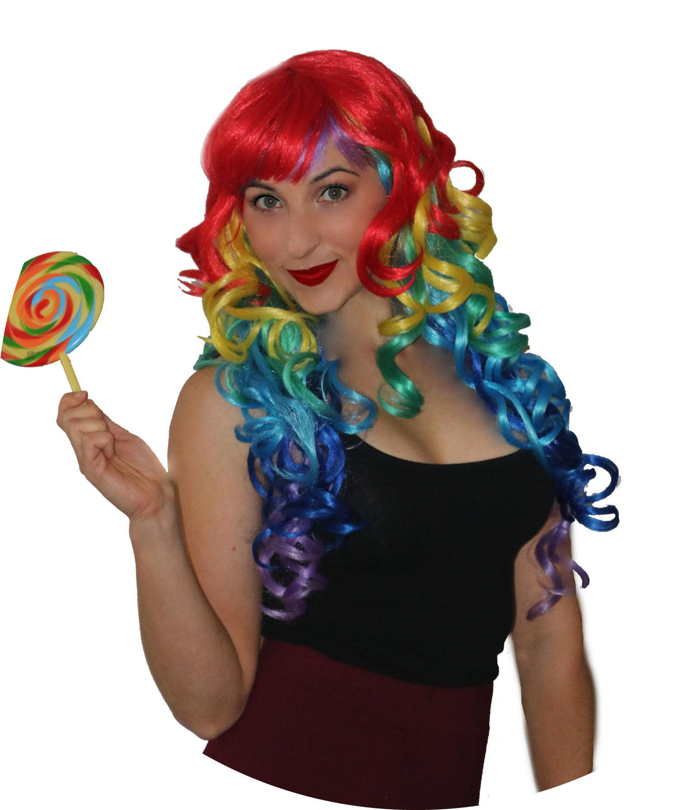 Deluxe Curly Rainbow Wig