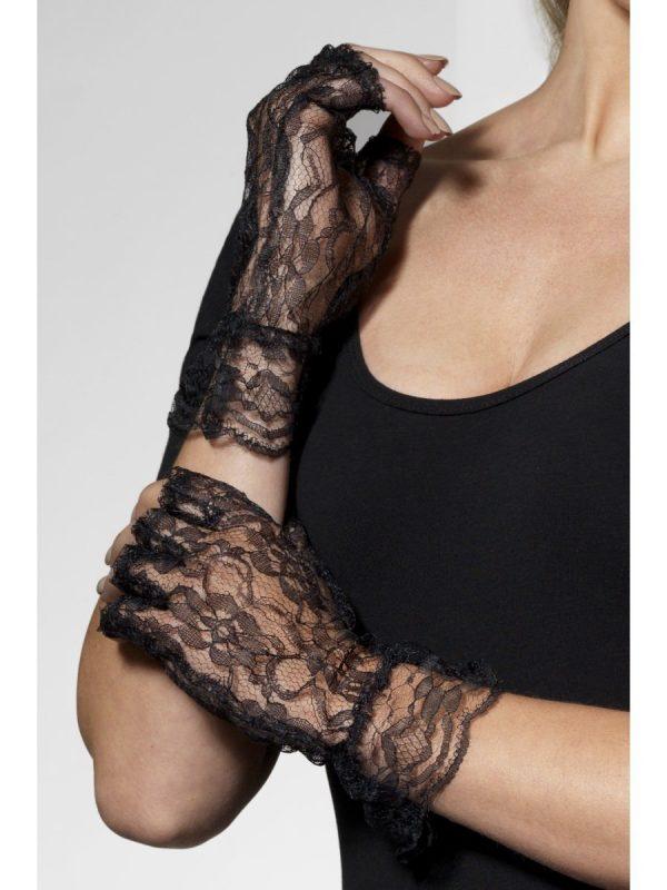 Fingerless Lace Gloves, Black