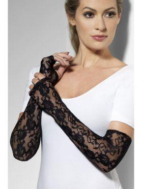 Full Length Black Lace Fingerless Gloves